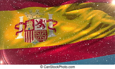 Flag of Spain and snowflakes