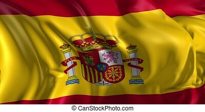 Flag of Spain - Beautiful 3d animation of Spain flag in loop...