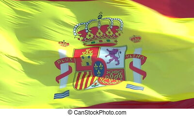 Flag of Spain - The flag of Spain closeup and blowing in the...