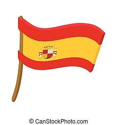 Flag of Spain icon, cartoon style