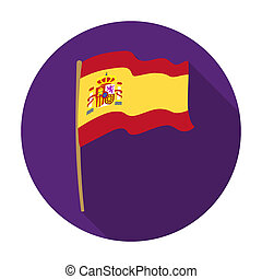 Flag of Spain icon in flat style isolated on white background. Spain country symbol stock bitmap, rastr illustration.