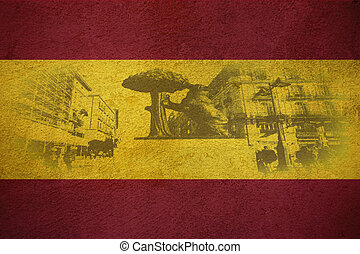 Flag of Spain, in background Symbol of Madrid - statue of ...