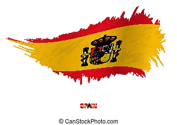 Flag of Spain in grunge style with waving effect.