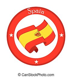 Flag of Spain on a label