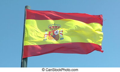 Flag of Spain blowing in the wind