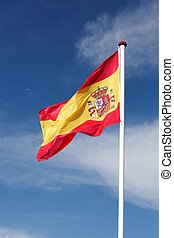 Flag of Spain waving in the sky