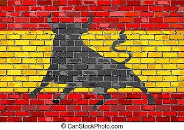 Flag of Spain with an Osborne bull