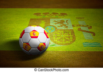 Flag of Spain with soccer ball over grass background - Euro...