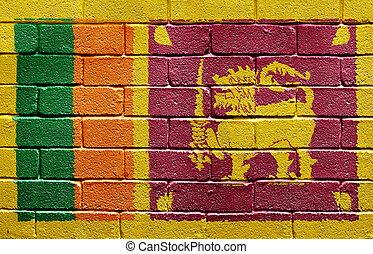 Flag of Sri Lanka on brick wall - Flag of Sri Lanka painted...