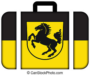 Flag of Stuttgart with Coat of Arms, Germany. Suitcase icon, travel and transportation concept