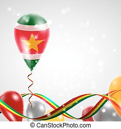 Flag of Suriname on balloon - Flag of the Suriname country...
