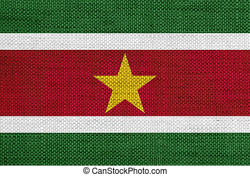 Flag of Suriname on old linen