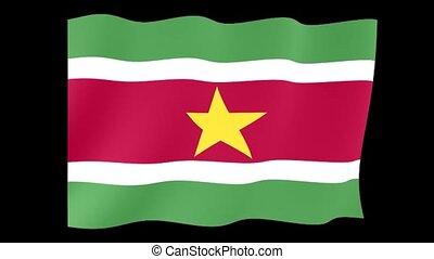 Flag of Suriname. Waving flag
