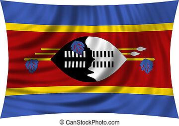 Flag of Swaziland waving isolated on white