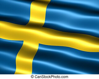 Computer generated illustration of the flag of Sweden with silky appearance and waves