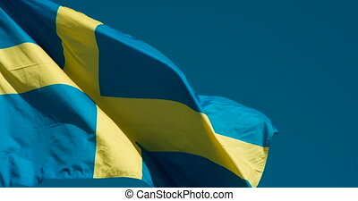 Flag of Sweden Fluttering in the Wind