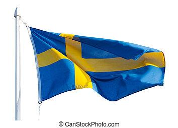 Flag of Sweden in flight. Isolated over white