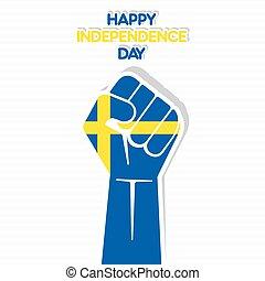 Flag of sweden in hand