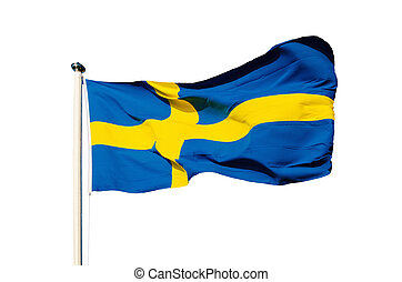 Flag of Sweden isolated on the white background, national ...