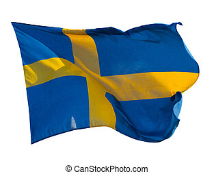 Flag of Sweden. Isolated over white