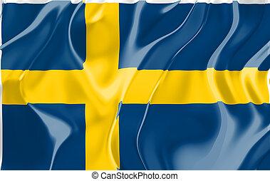 Flag of Sweden, national country symbol illustration