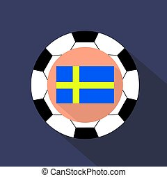 Flag of Sweden on a blue background. Soccer ball.