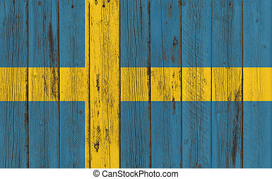 Flag of Sweden painted on wooden frame