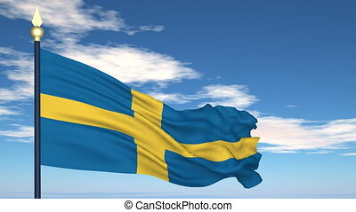 Flag Of Sweden on the background of the sky and flying...