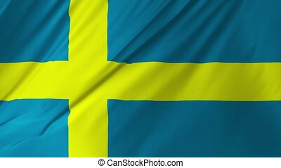 Flag of Sweden waving in the wind, looping 2 in 1
