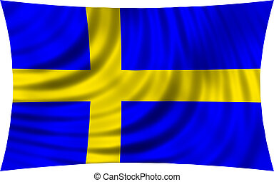 Flag of Sweden waving in wind isolated on white