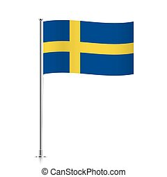 Flag of Sweden waving on a metallic pole.