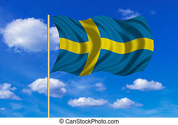 Flag of Sweden waving on blue sky background