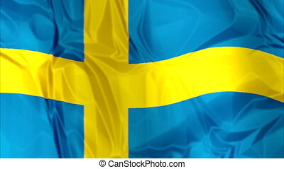 Flag of Sweden waving - Waving flag of Sweden, blue and...