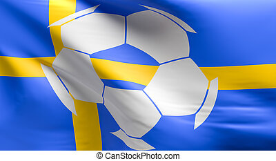 Flag of sweden with a soccer ball icon
