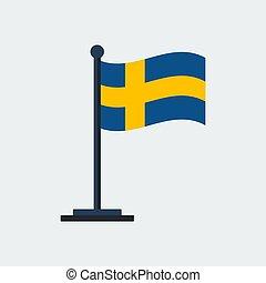 Flag Of Sweden.Flag Stand. Vector Illustration - Flag Of...