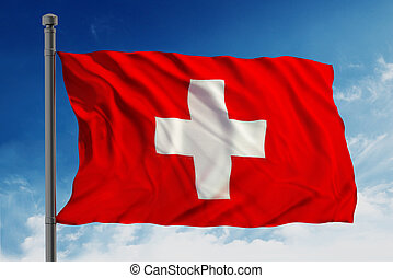 Flag of swiss waving against blue cloudy sky