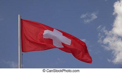Flag Of Switzerland. 4K.