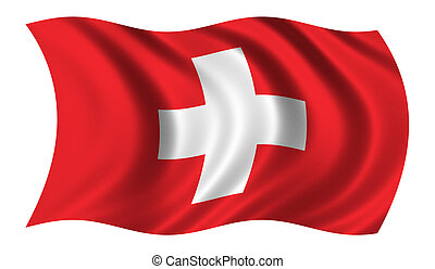 Flag of Switzerland waving in the wind