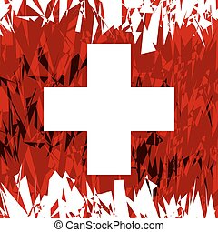 Flag of Switzerland. - Flag of Swiss in grunge style. Vector...
