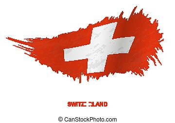 Flag of Switzerland in grunge style with waving effect.