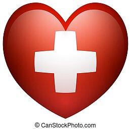 Flag of Switzerland in heart shape