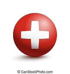 Flag of Switzerland in the form of a ball