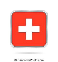 Flag of Switzerland. Metallic gray square button.