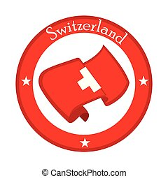 Flag of Switzerland on a label
