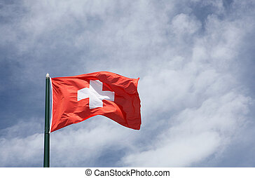 Flag of Switzerland on a sky