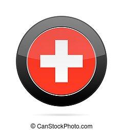 Flag of Switzerland. Shiny black round button.