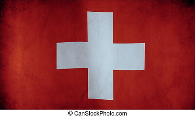Flag of Switzerland waving in the wind - highly detailed fabric texture - seamless looping