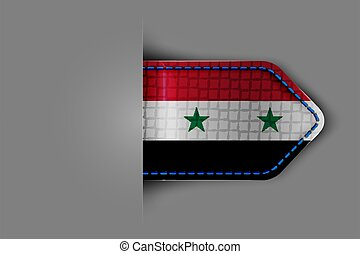 Flag of Syria in the form of a glossy textured label or ...