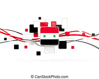 Flag of syria, mosaic background with lines