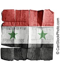 Flag of Syria on the old paper.